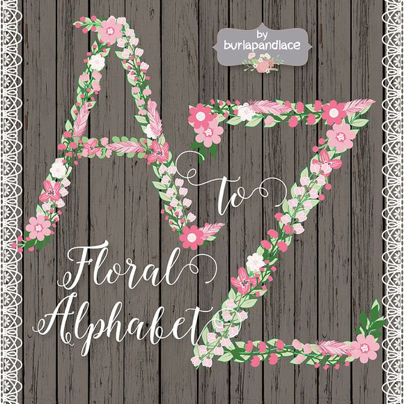 Rustic Floral/feather Alphabet Clipa by burlapandlace on Creative Market