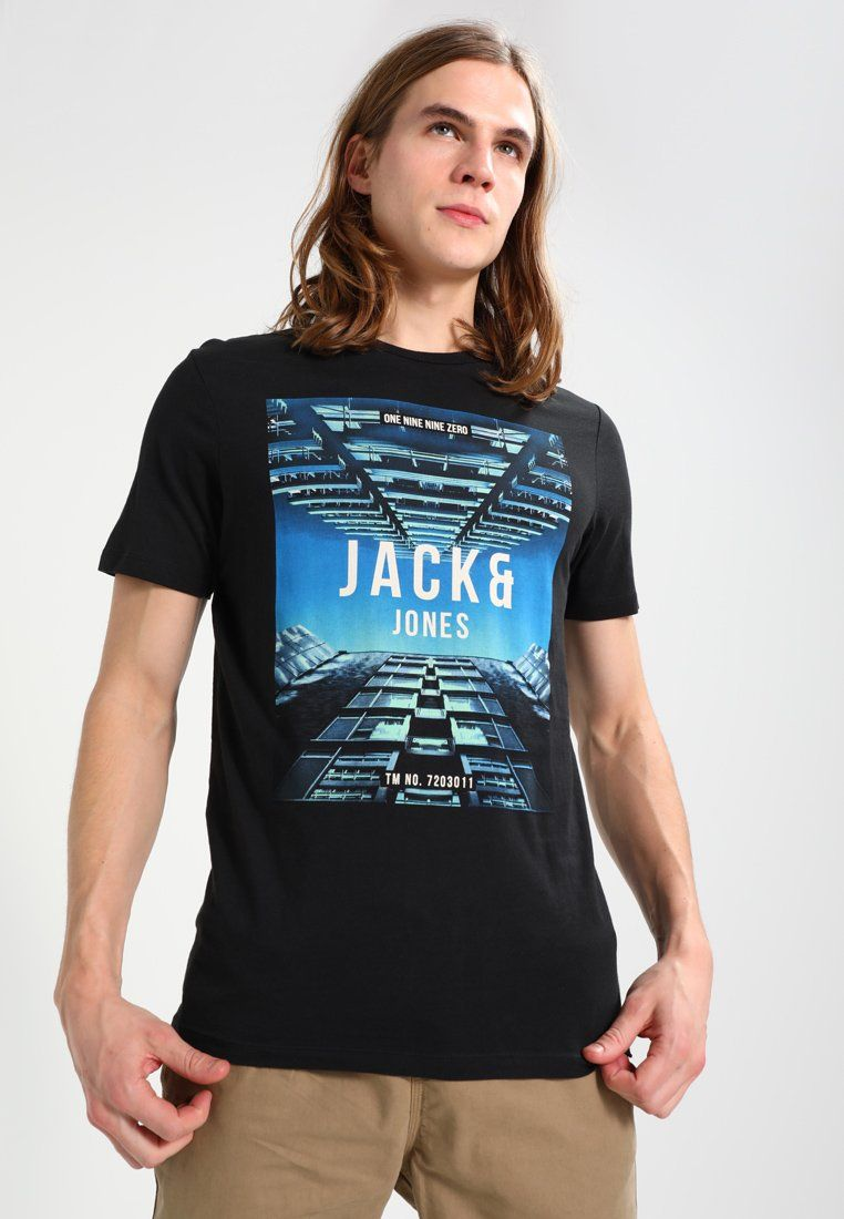 Jack   Jones JCOSUMMER TEE CREW NECK - T-shirt con stampa - black -  Zalando.it f923753587f