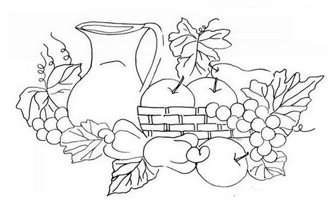 Canasta De Frutas En Pintura Riscos Para Pintura Frutas Para Colorir Desenhos De Frutas