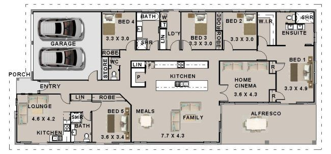 5 Bedroom Home Designs Australian 5 Bedroom With Granny Flat  Home Designs  Northlakes