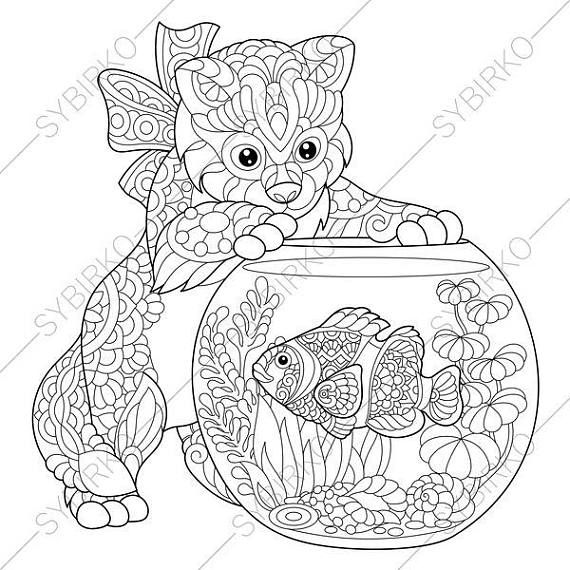 Adult Coloring Pages Kitten and Aquarium Fish Zentangle Doodle