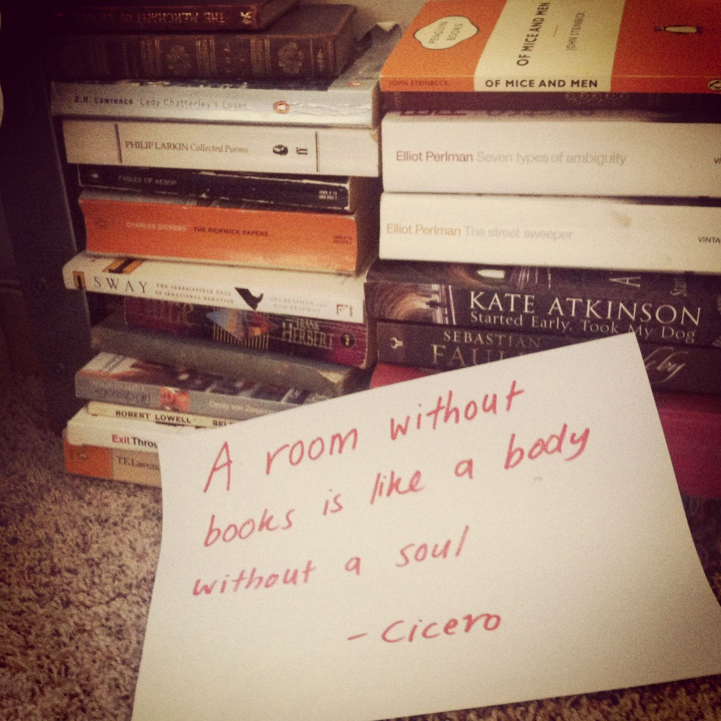 Day Two - Cicero. I think it's safe to say my room has a lot of soul.
