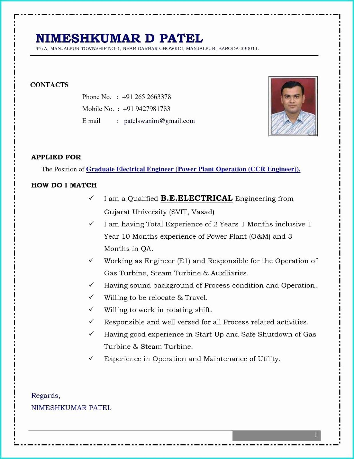 Mechanical Engineering CV Format, mechanical engineering ...