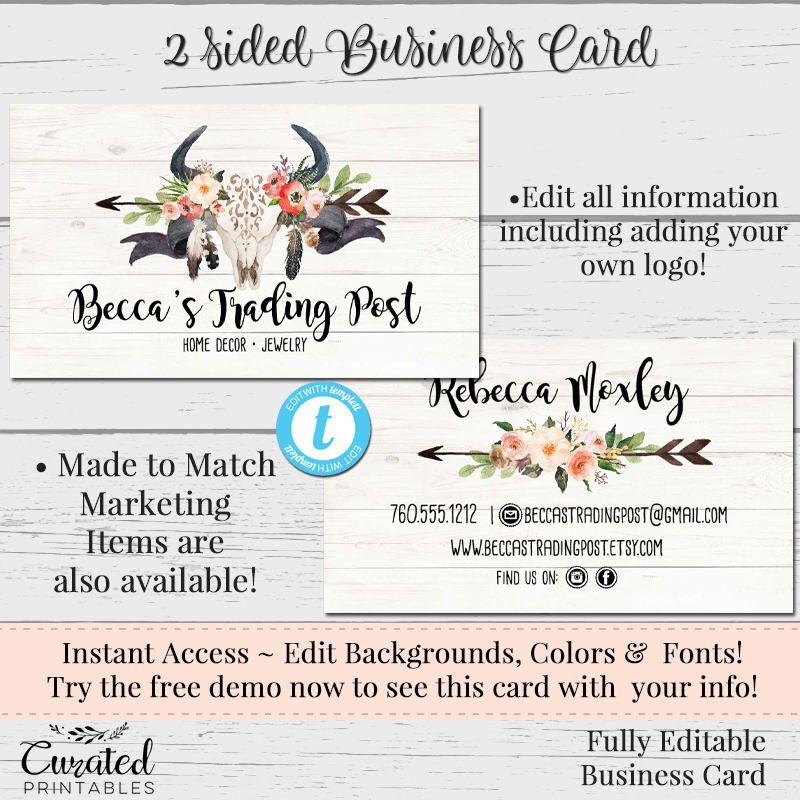 Steer Skull Arrow Business Card Business Card Watercolor Card - Diy business card template
