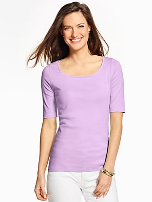 58d1d2123 Talbots - Pima Cotton Rounded Square-Neck Tee     Petites Discover your new  look at Talbots. Shop our Pima Cotton Rounded Square-Neck Tee for stylish  ...