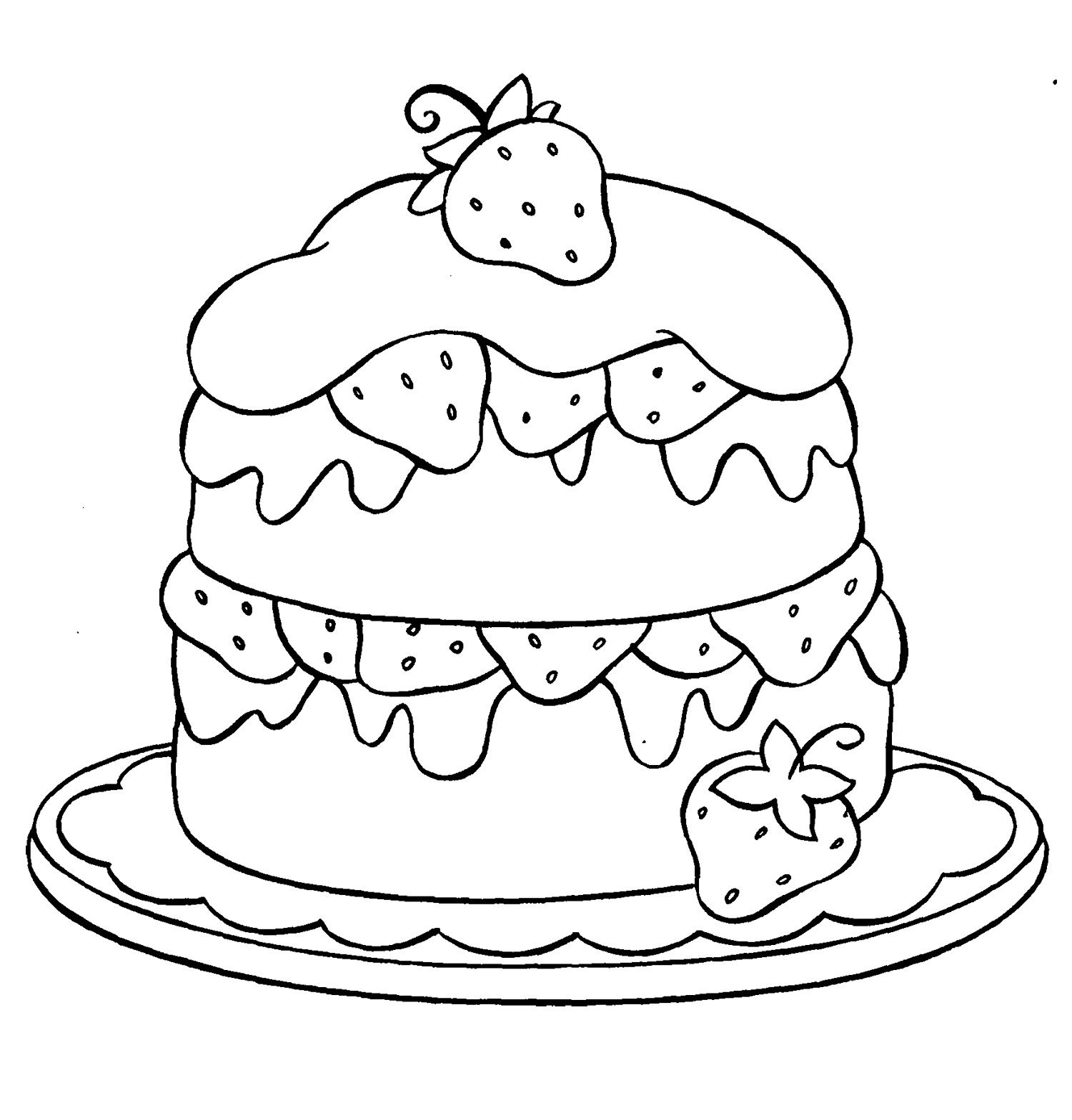 Cupcake Strawberry Coloring Page