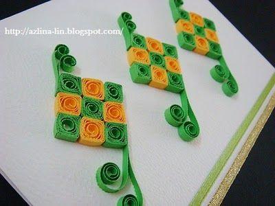 Lin Handmade Greetings Card Quilled Ketupat Paper Quilling Jewelry Greeting Cards Handmade Quilling Cards