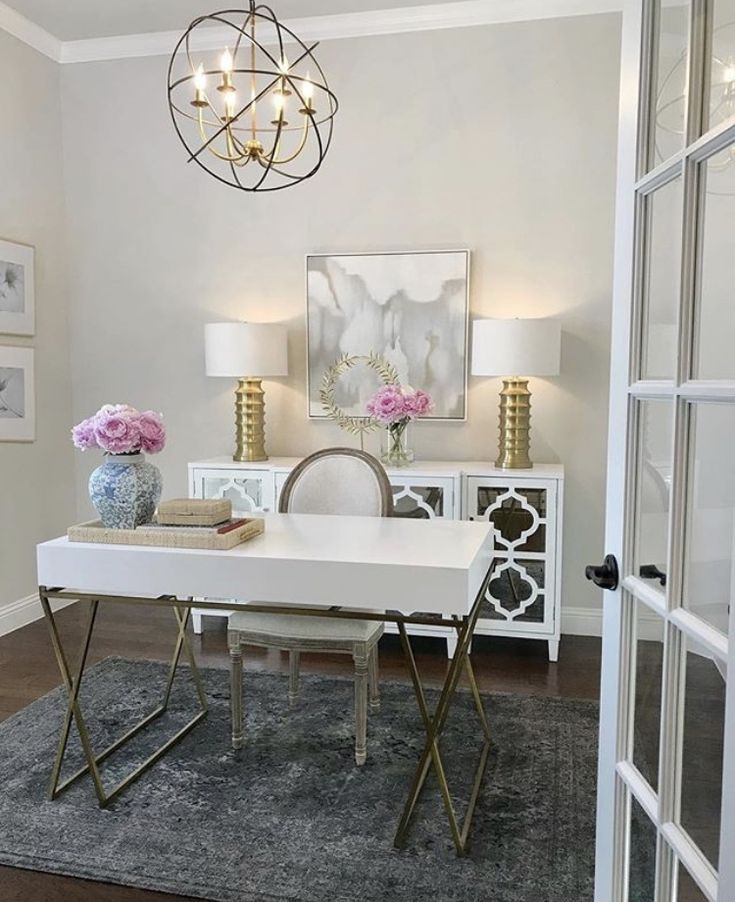 Cozy Homeoffice Decor: White Home Office With Beautiful Light! # Homeoffice
