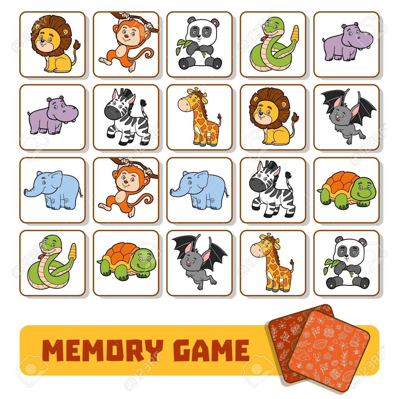 Juego De Memoria Para Los Niños En Edad Preescolar Tarjetas De Vectores Con Animales De Zoológico Juegos De Animales Animales De Zoológico Loteria De Animales