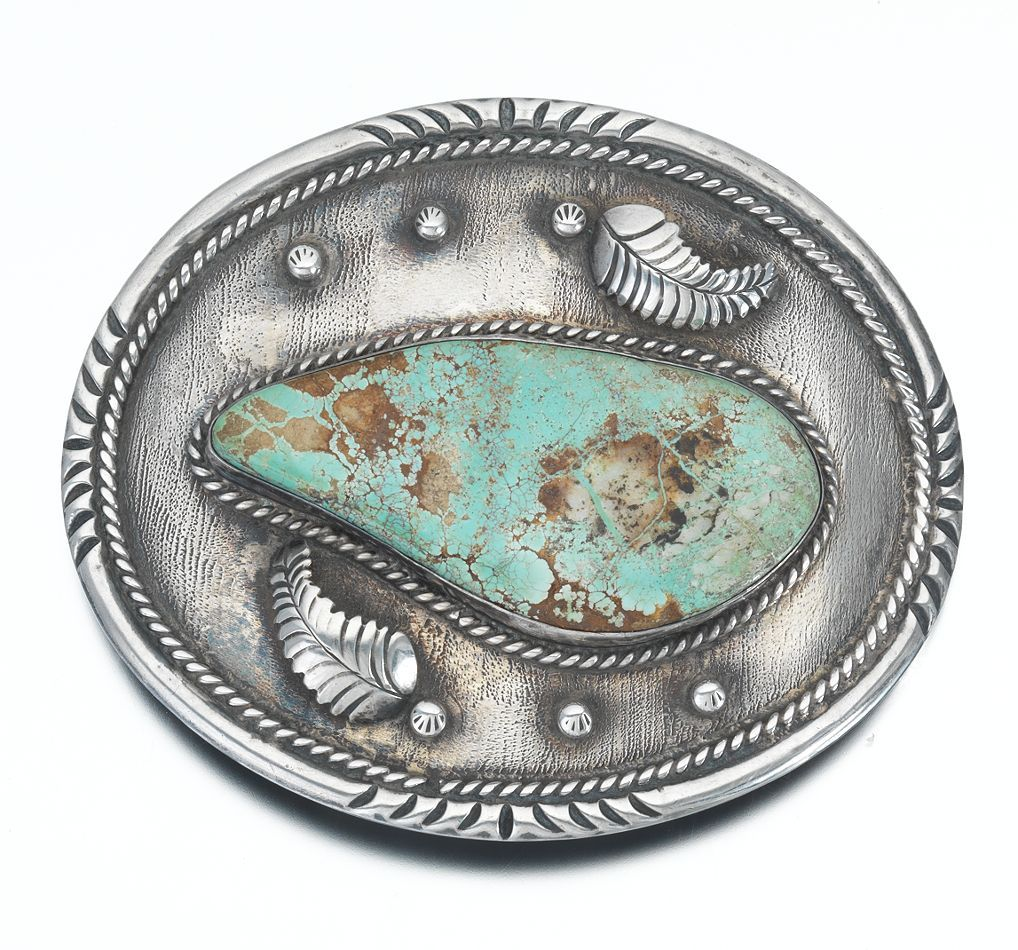 "A Navajo Sterling Silver and Turquoise Belt Buckle, Signed ""AS"""