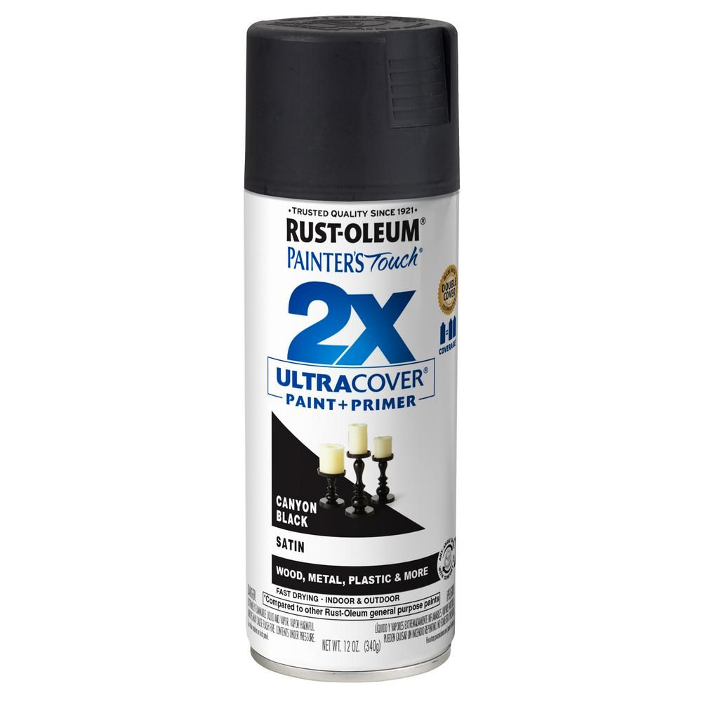 Rust Oleum Painter S Touch 2x 12 Oz Satin Canyon Black General Purpose Spray Paint 346951 Aerosol Spray Paint Spray Paint Wood Black Spray Paint