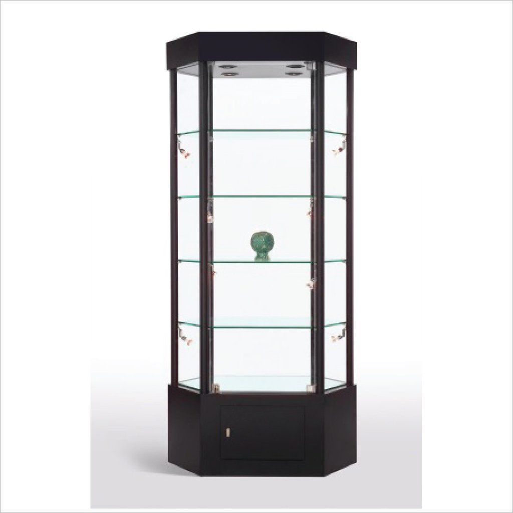 Trophy Display Case Elongated Hexagon Glass Display Case With