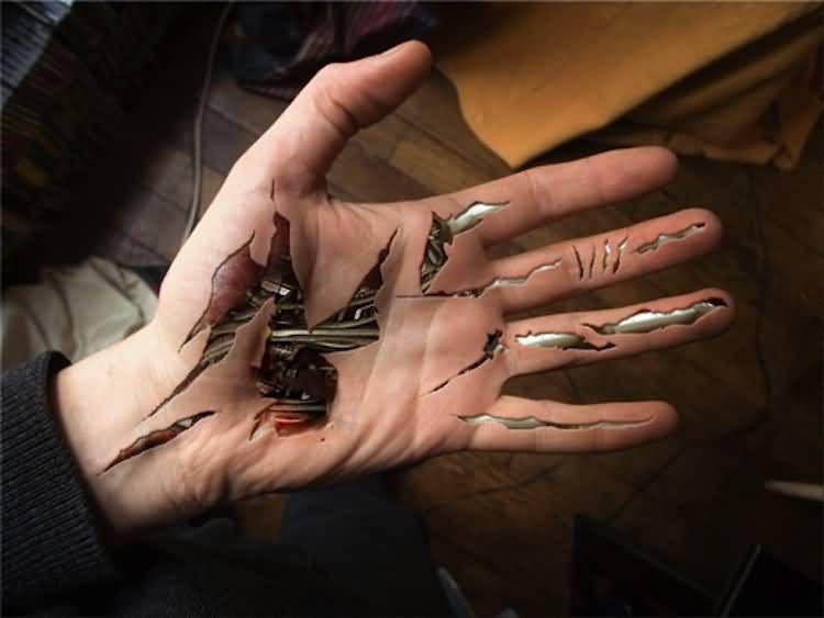 Crazy 3d Ripped Skin Tattoo On Hand Biomechanical Tattoo Ripped