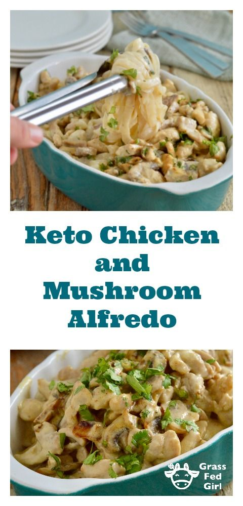 Keto Chicken Alfredo with Low Carb Noodles #chickenalfredo