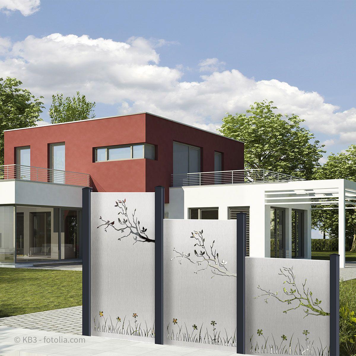 Design Edelstahl Blechfullung Motiv Ast Wiese Sichtschutz