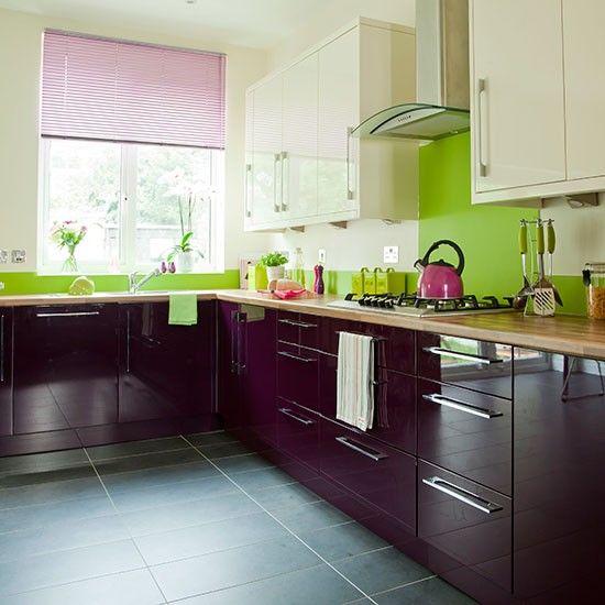 Aubergine and cream kitchen | Kitchens, Kitchen blinds and Gloss ...