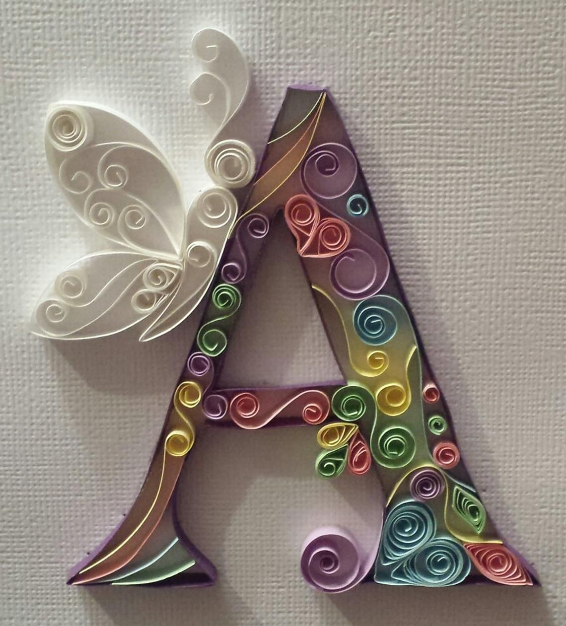 Quilled Paper Art Decorative letters. Any letter Available, Each piece is handmade to order, in a range of colours. Great for Nursery, a childs bedroom, or as a unique, decorative, handmade gift for the person with everything or the child with every toy under the sun! Each piece is handmade to order