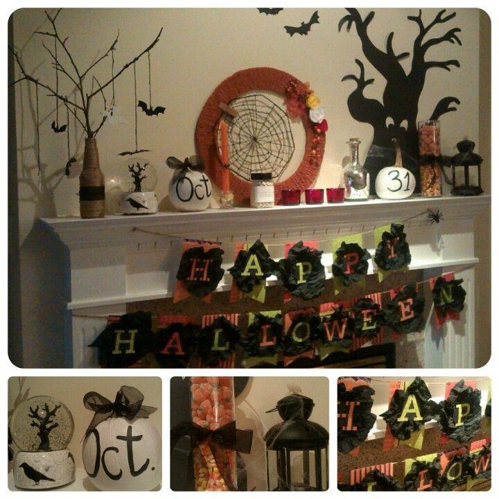 DIY Halloween Mantel decor Food/decorations Pinterest Mantels