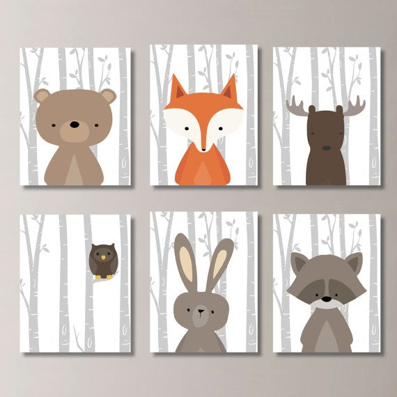 Baby Boy Nursery Art Woodland Nursery Art Woodland Nursery Decor