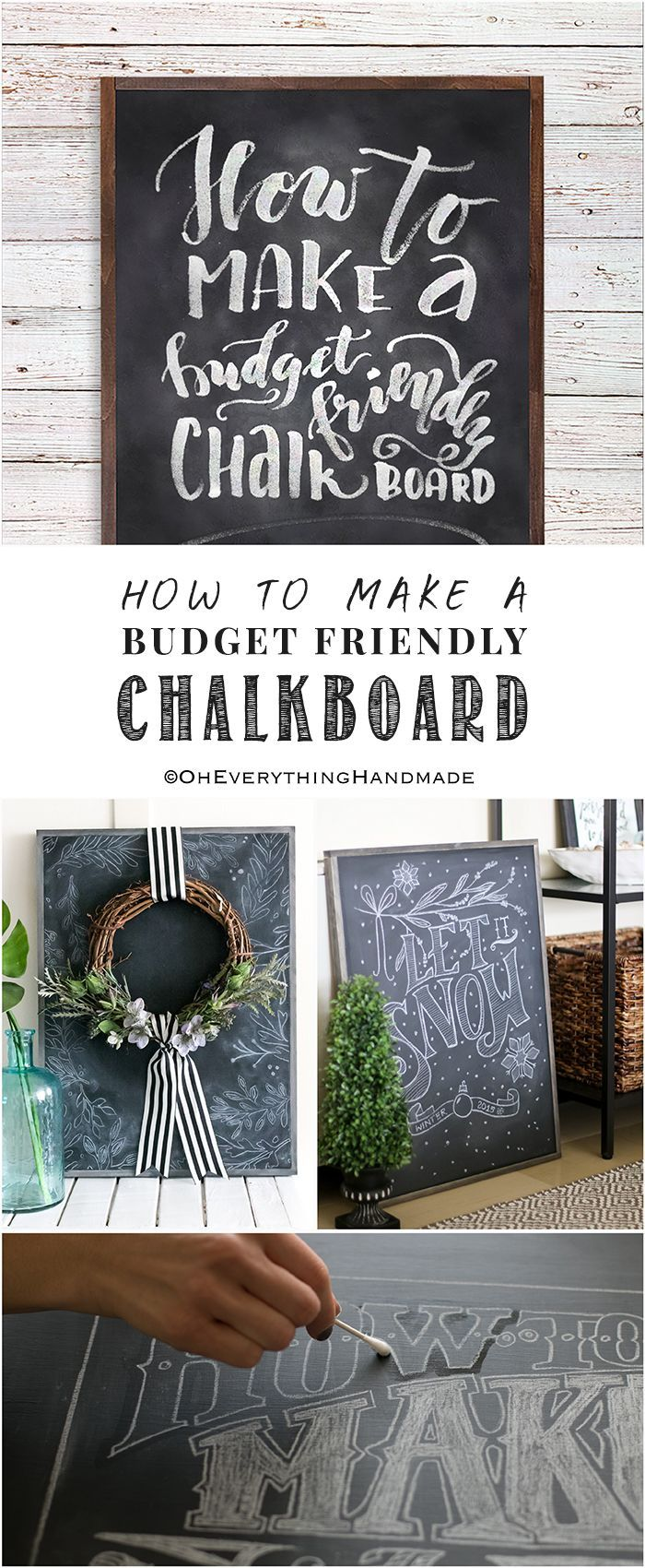 How to's : Today, I'll be sharing How to Make a Budget Friendly Chalkboard. #chalkboard #budget #howto #makeit #DIY #tutorial #handmade #wallart #oheverythinghandmade