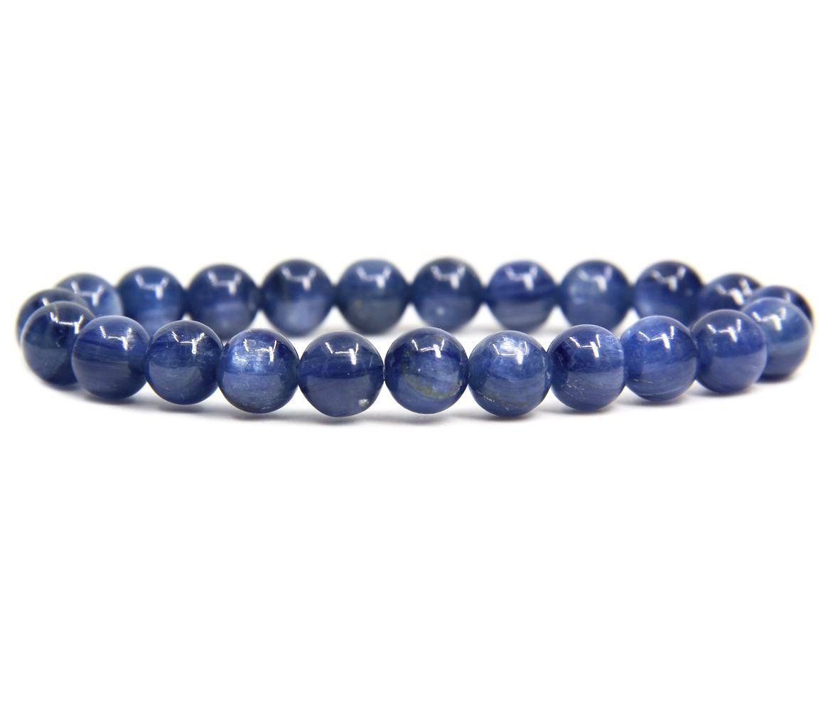 Gemstone Natural Kyanite With 925 Sterling Silver Beads Stretch Bracelet 7
