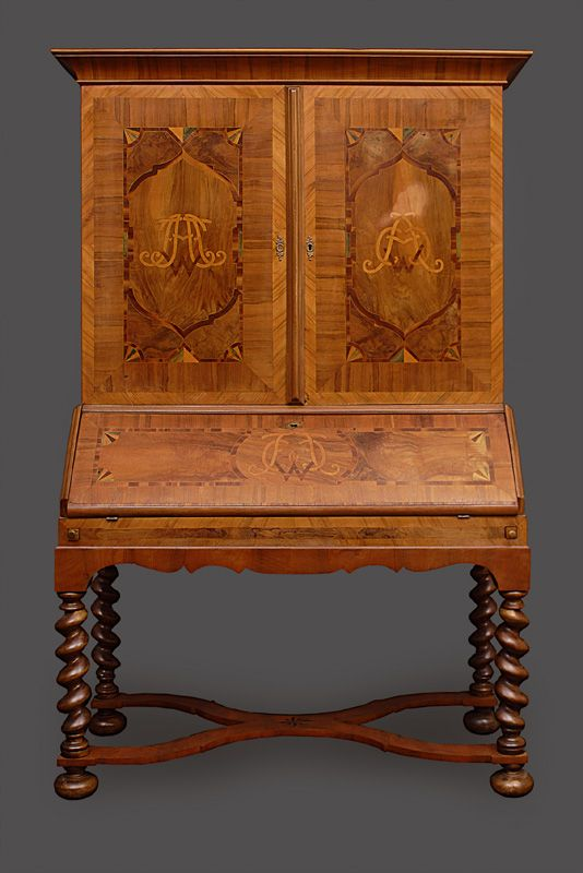 a baroque bureau cabinet german 18th cent nutwood with fine maple band inlays veneered and partly solid wood 3 parts partly traces of age h c