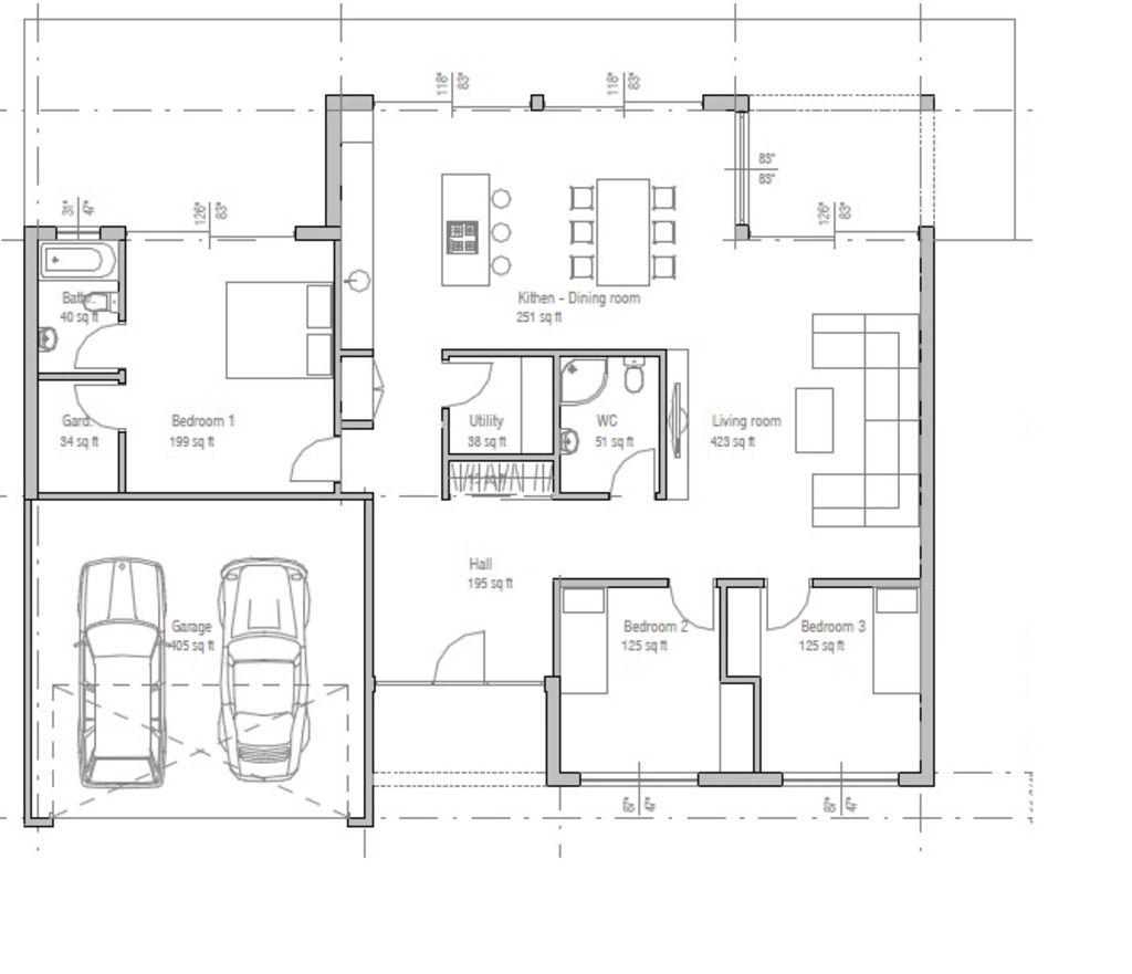 Plano de casa de una planta moderna con 3 dormitorios y 2 - Planos casas modernas ...