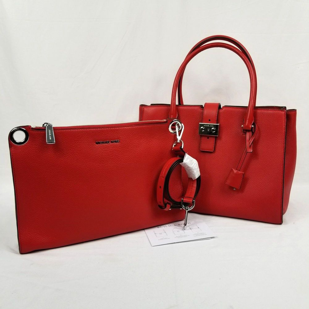 6204e4c490 Michael Kors Bond Large Leather Satchel 2 in 1 Bag Clutch Crossbody Bright  Red 190864493428 | eBay