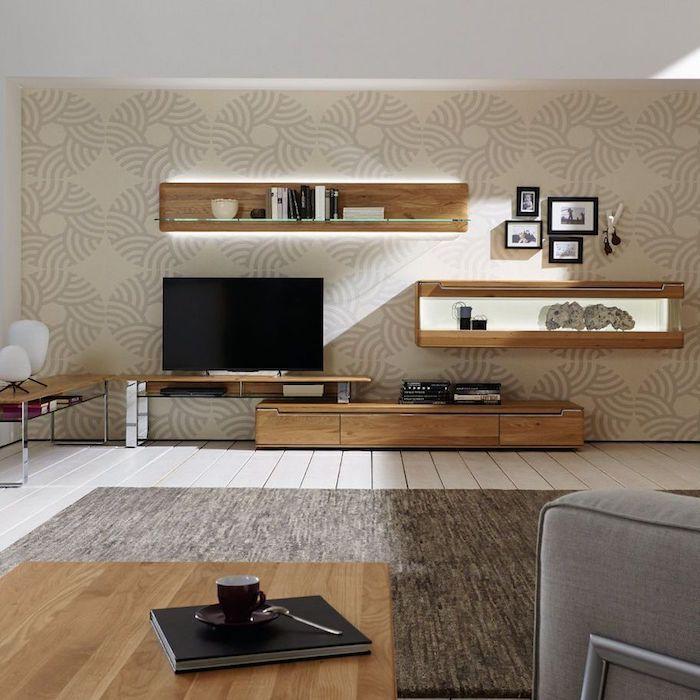 Tv Wohnwand Bunte Retro Tapeten An Der Wand Hintergrund Für Einen Tollen  Fernseher Schwarze Technologie Zu