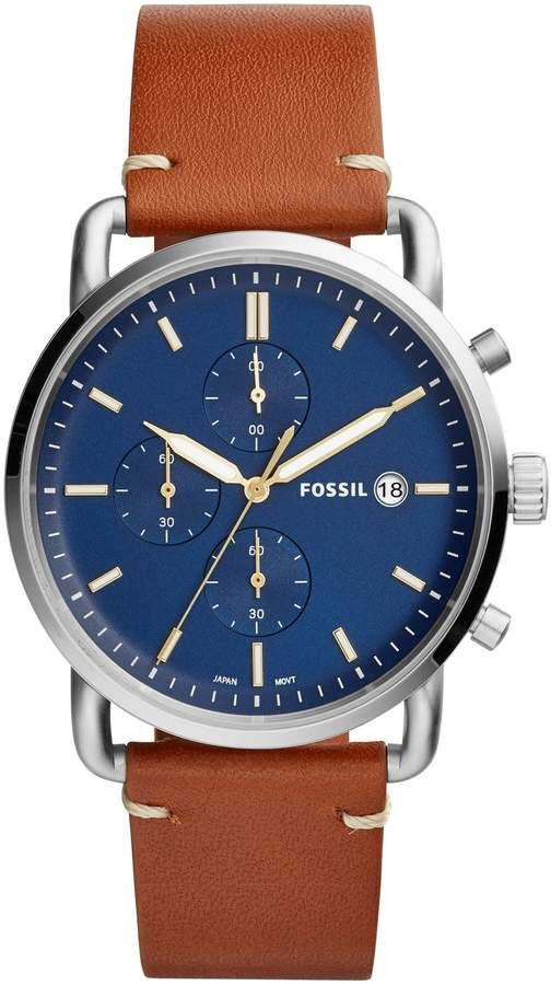 f1437ac9e34 Fossil The Commuter Chronograph Leather Strap Watch