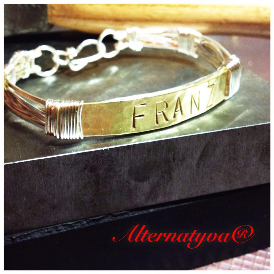 Wire wrapped hand stamped men bracelet my work pinterest wire