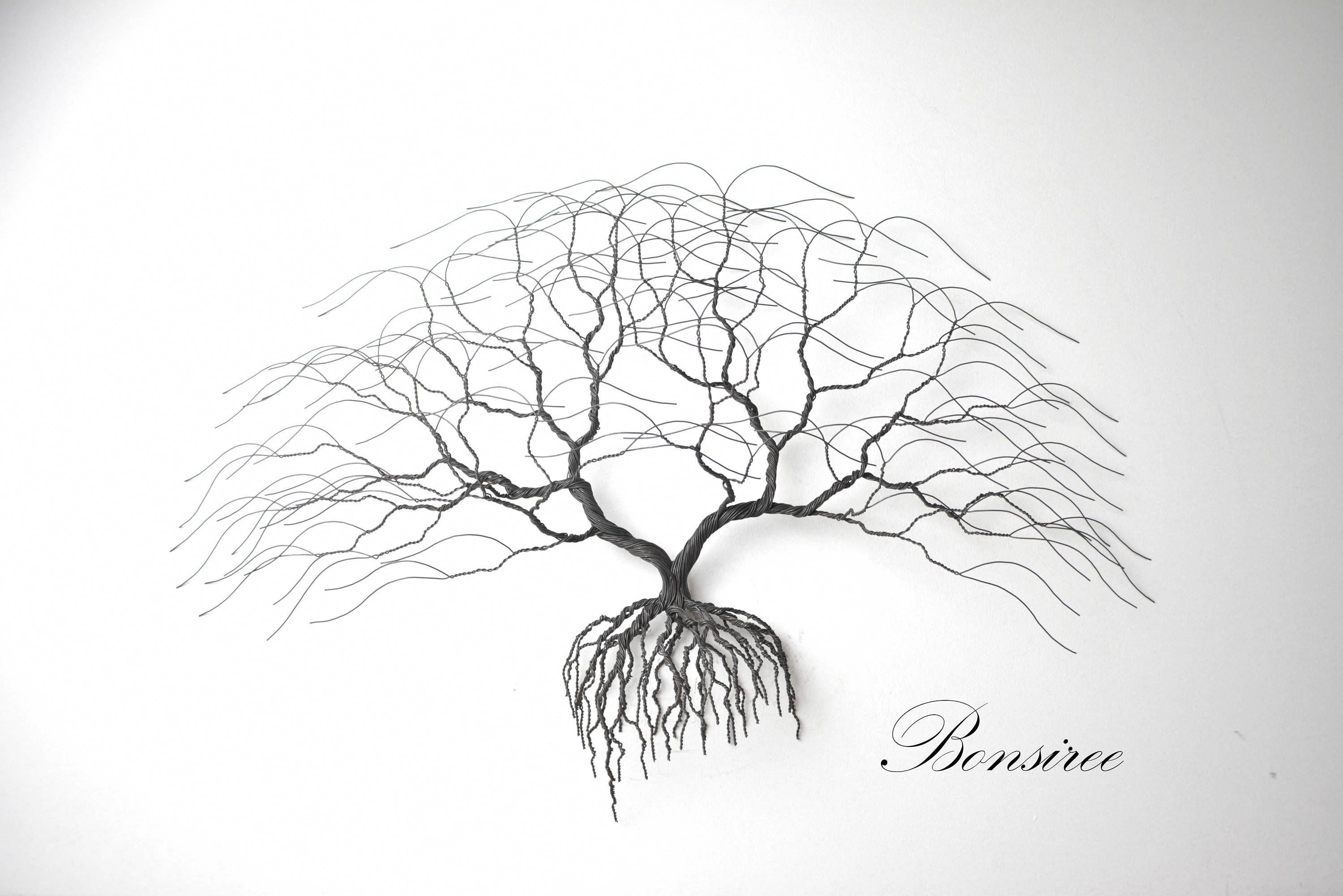 Metal tree wall art luxury japanise bonsai wire tree