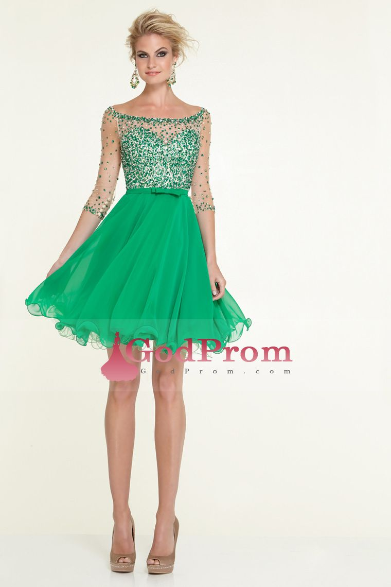 2015 Fascinating Short/Mini Prom Dresses 3/4 Length Sleeve Tulle And Chiffon With Beading