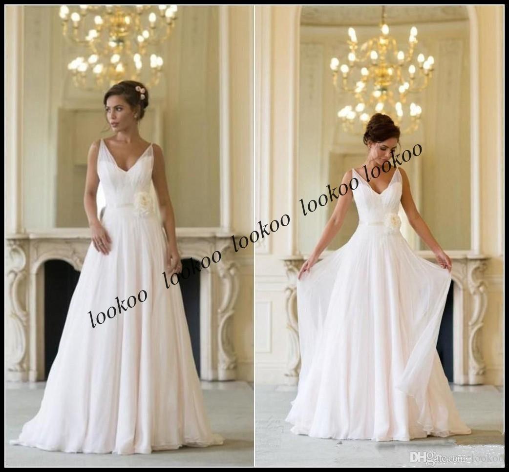 Simple wedding dresses cheap  V Neck Simple Chiffon A Line Beach Wedding Dresses With Handmade