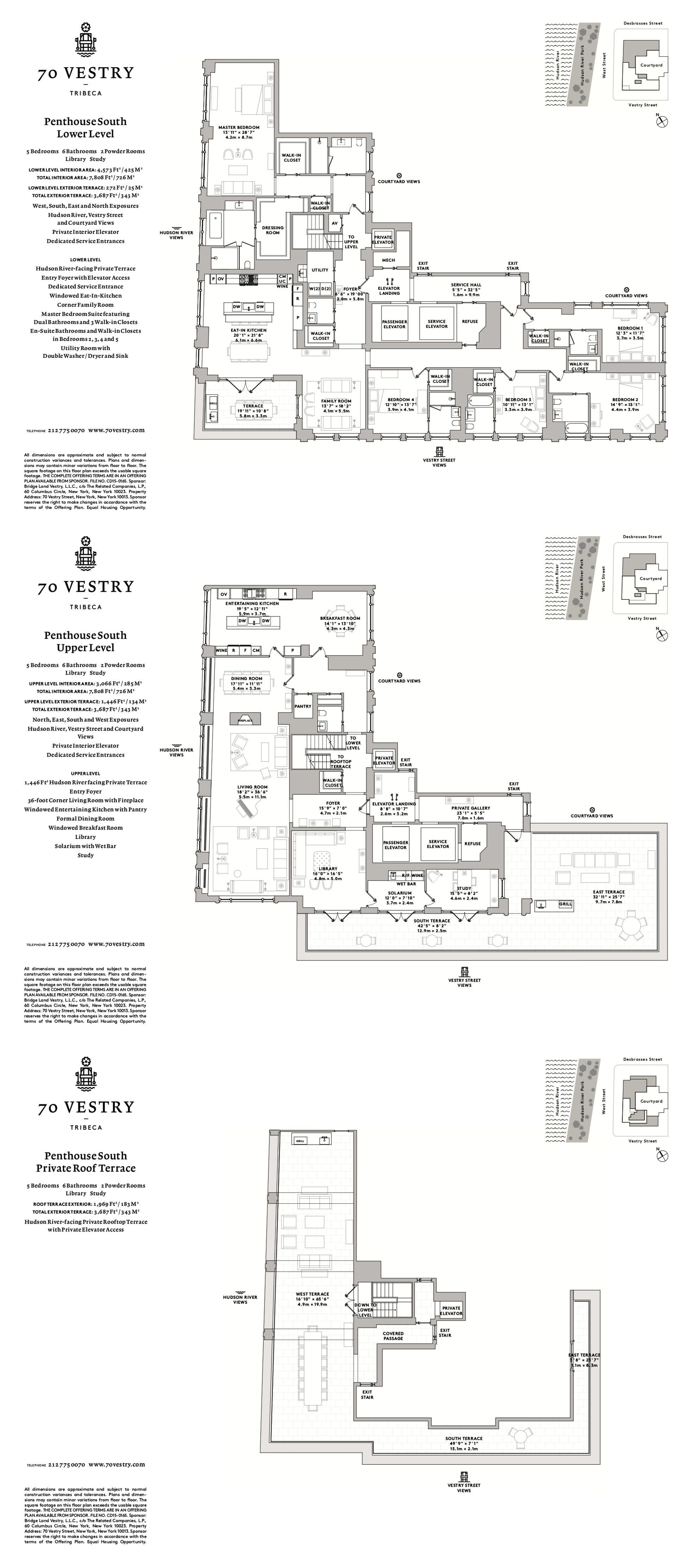 Re 70 Vestry Tribeca Penthouse South With Images