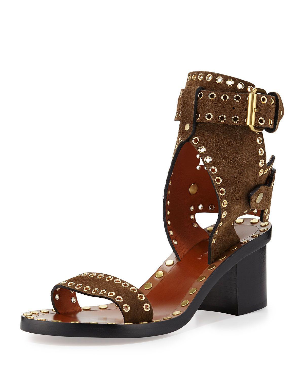 1416dda69 Jaeryn Studded Two-Tone Ankle-Wrap Sandal