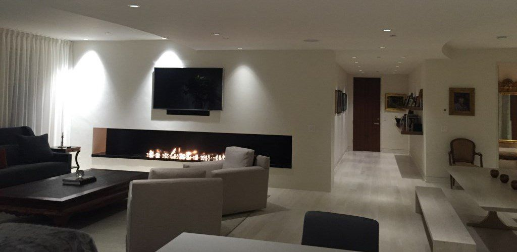 TV Fireplace Set, A True Trend In Interior Design. But How Should A  Television Be Installed Beside Or Above A Fireplace Or Ethanol Burner?