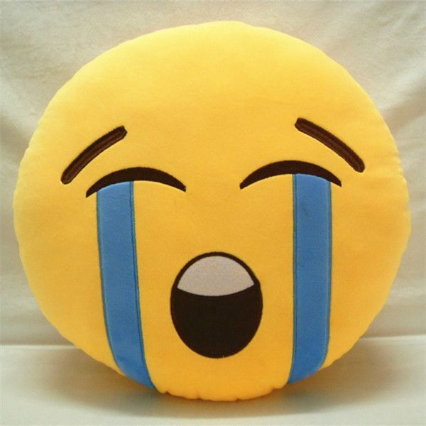 New Hot 10Styles Soft Emoji Smiley Emoticon Yellow Round Cushion Pillow Sofa Stuffed Plush Toy Doll For Cute Home Decoration