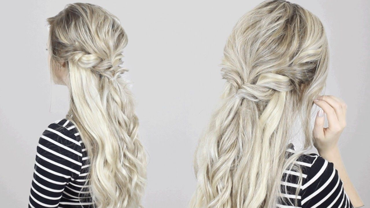 Half Up Half Down Twisted Crown Braid Quick Easy Simple Braided Hairstyles Easy Half Up Hair Braided Half Up