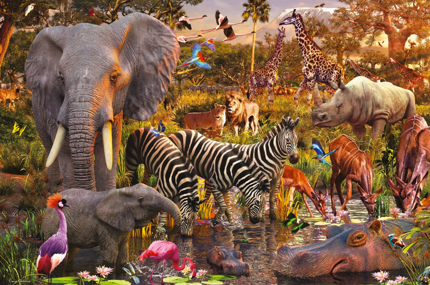 Ravensburger African Animals Jigsaw Puzzle 3000 Piece Puzzle African Animals Animals Wild Animal Posters [ 994 x 1497 Pixel ]