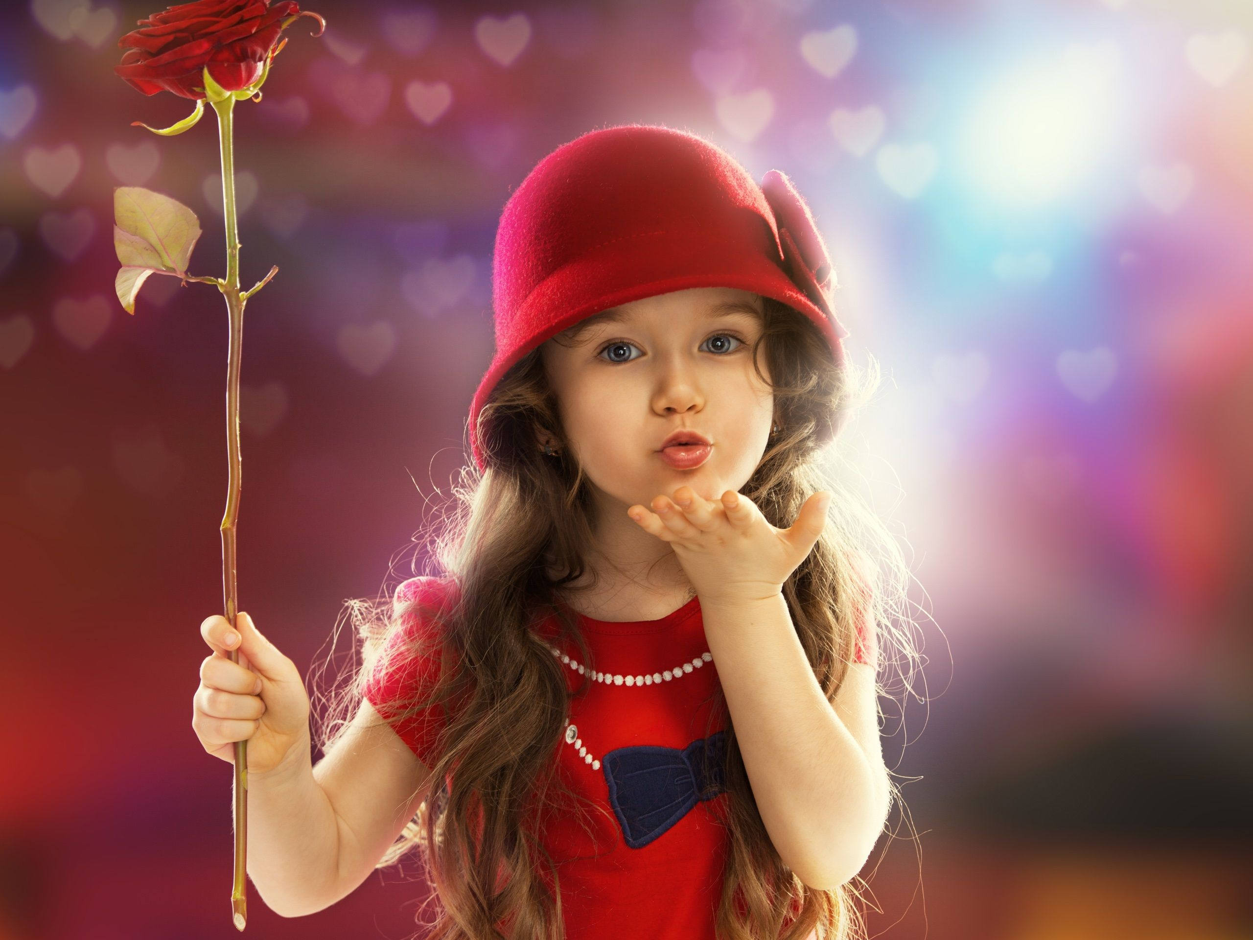 cute red dress little girl, child, sweet kiss wallpaper 2560x1920