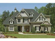 French Country Style Exterior in Gray, Black and White, love colors, but french shutters