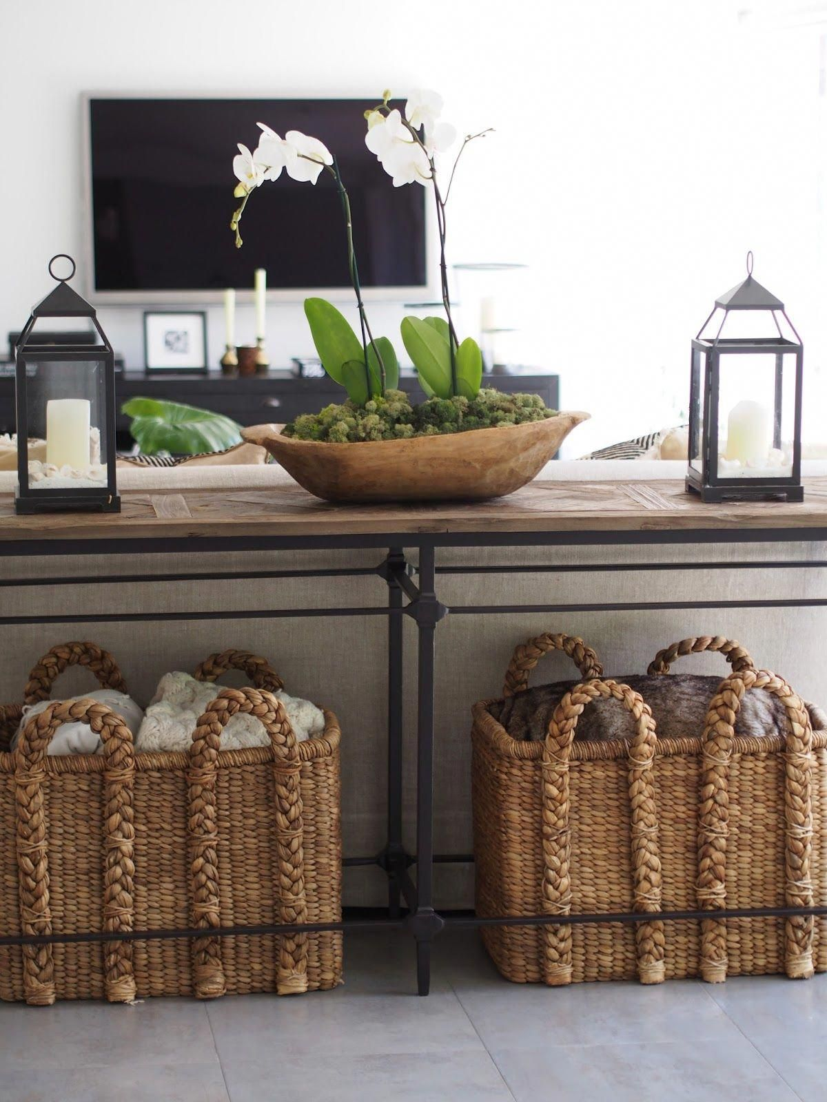 Put Some Sort Of Console Table With Lanterns Lamps Etc Behind Couch Baskets Under Are Cool Too Lantern Sofa Table Decor Couch Decor Console Table Decorating