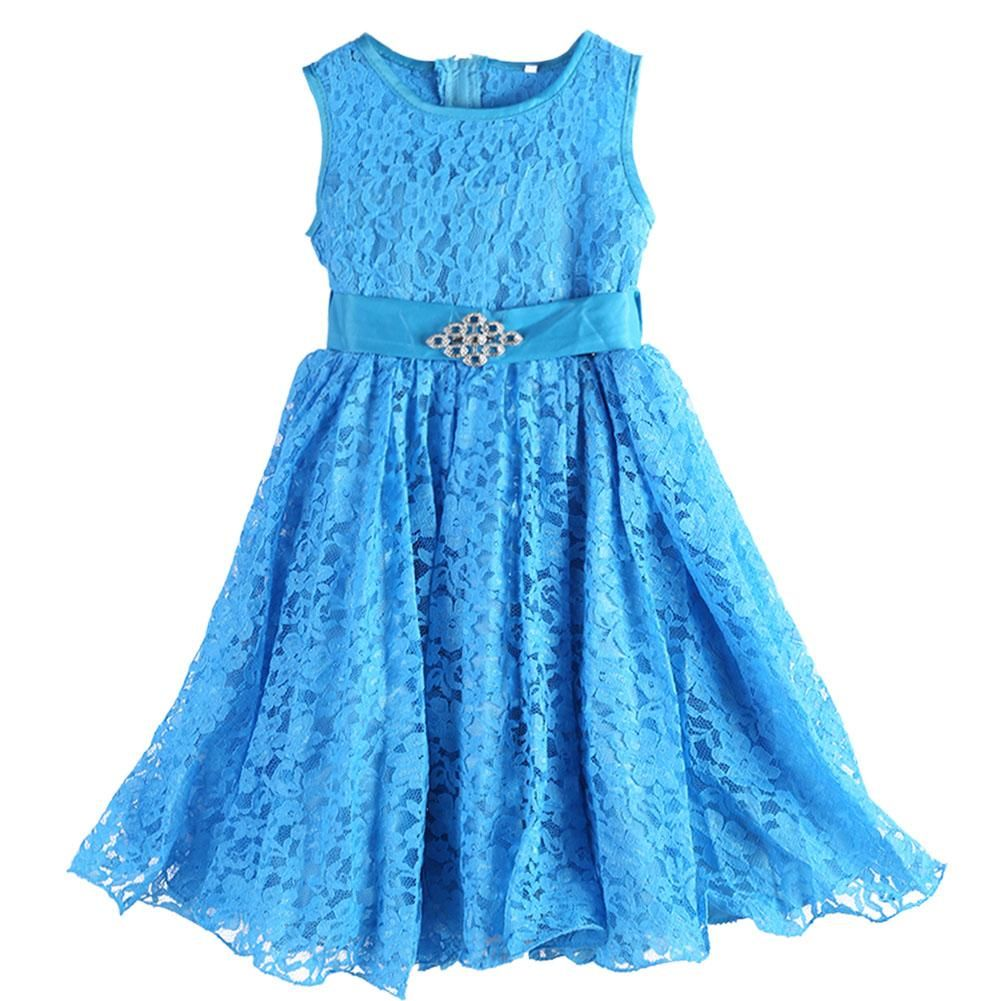 New Belt Flower Girls Dresses Blue Baby Evening Gown Birthday Party ...
