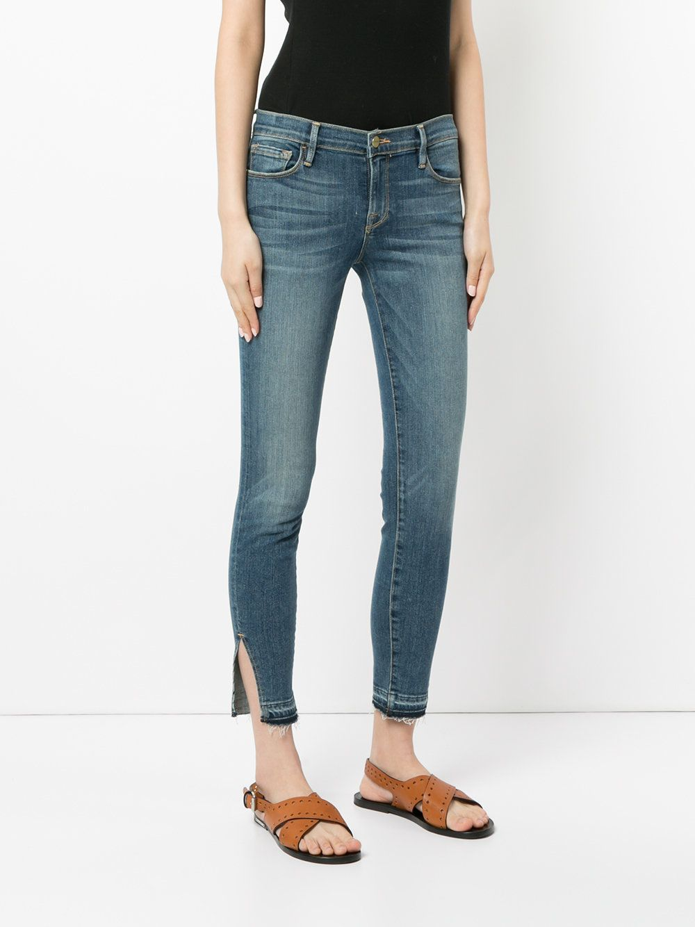 Le Skinny raw triangle cut jeans - Blue Frame Denim Classic ax3Kd