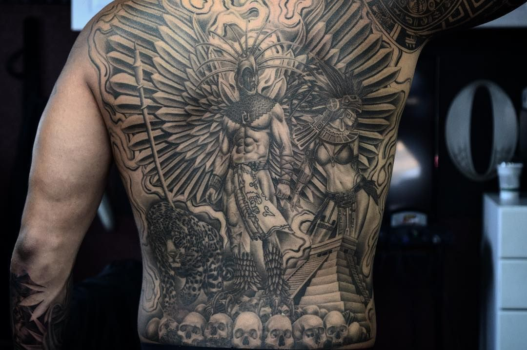 Aztec Warrior Back Tattoos