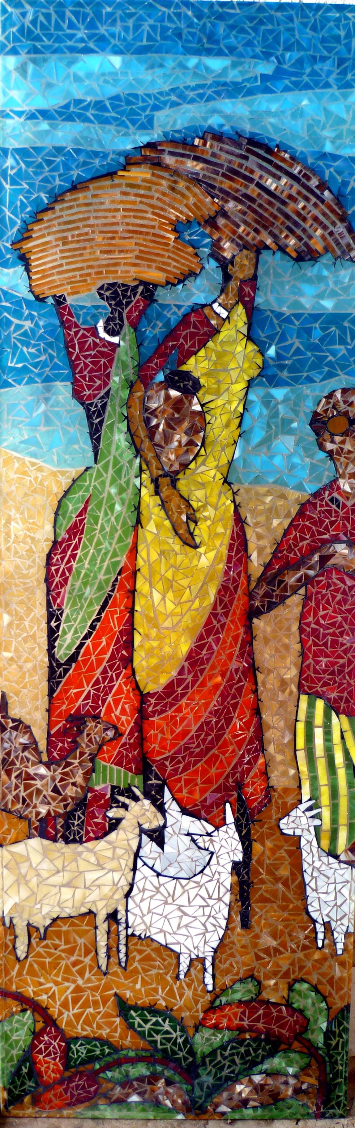Glass mosaic done on thick glass plate by fehmida haider