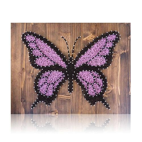 Purple butterfly string art kit cuadro one of a kind butterfly string art for your home that you create solutioingenieria Images