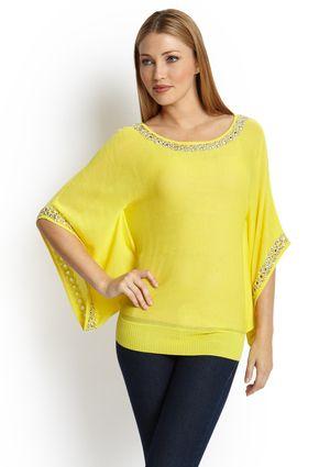 Yellow embellished sweater.
