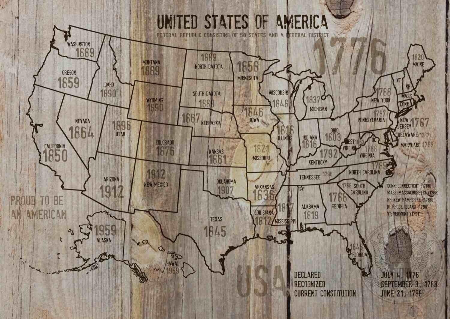 Map of USA 1776 37 Canvas Print by